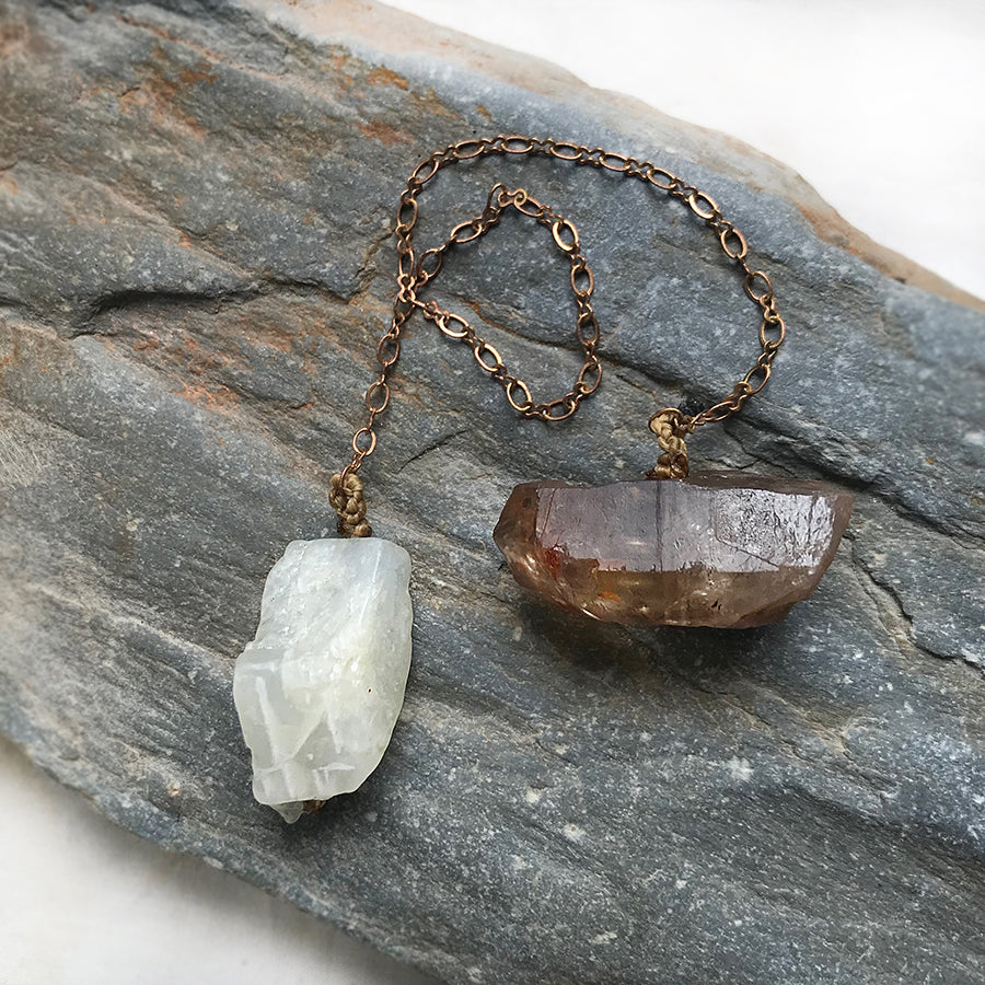 Crystal pendulum for dowsing ~ with Moonstone & Smokey Citrine
