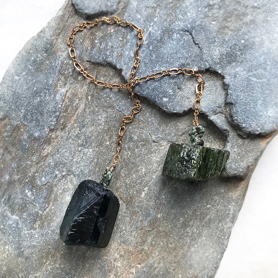Crystal pendulum for dowsing ~ with Black Tourmaline & Verdelite