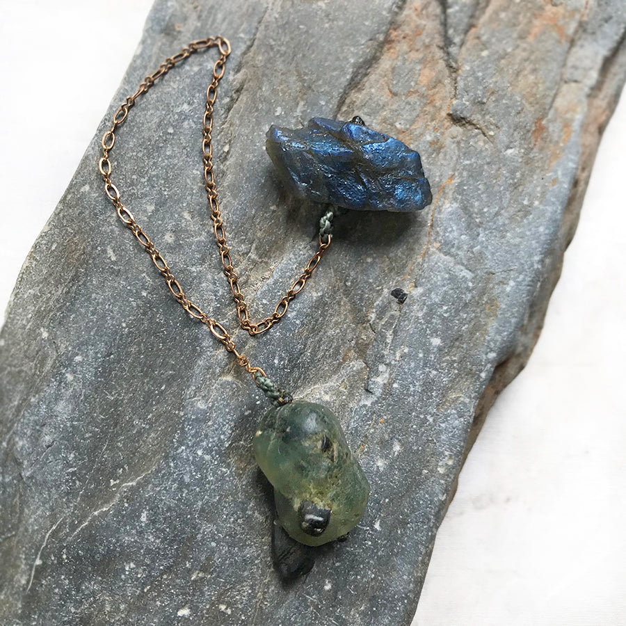 Crystal pendulum for dowsing ~ with Prehnite Epidote & Labradorite