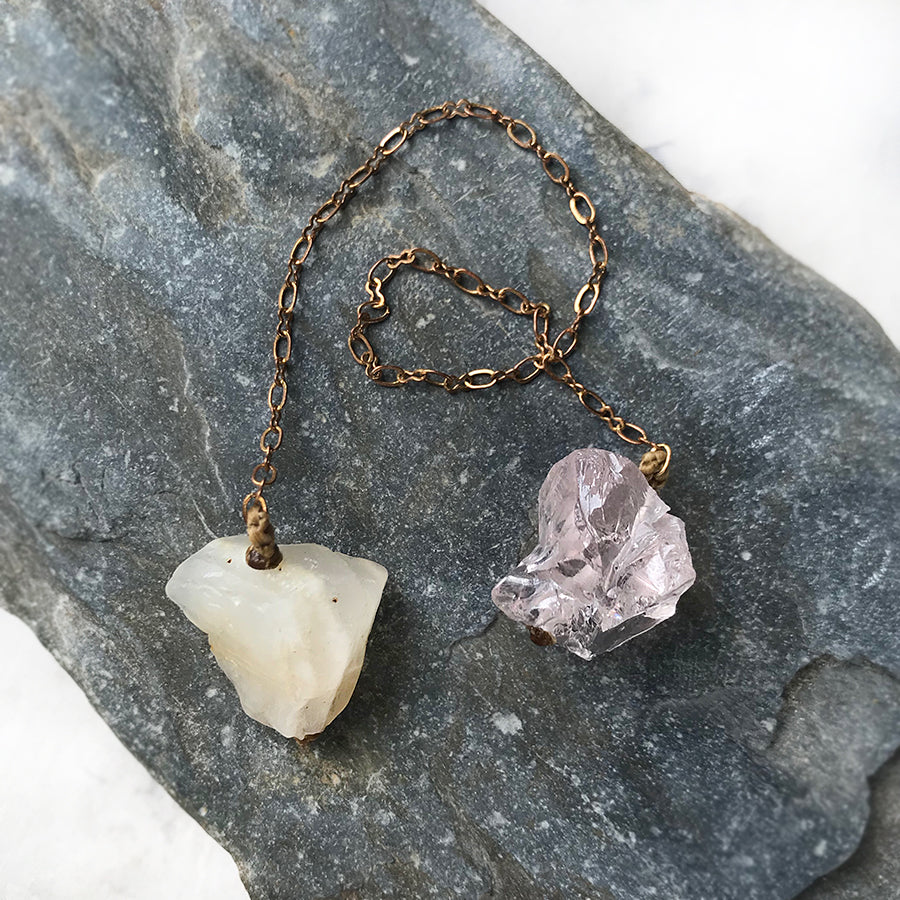 Crystal pendulum for dowsing ~ with Moonstone & Ice Rose Quartz
