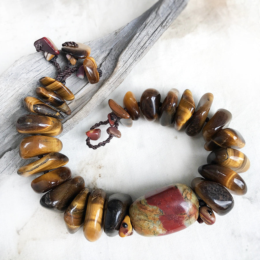 "Crystal healing bracelet with Tiger Eye & Mookaite ~ for up to 6.5"" wrist"
