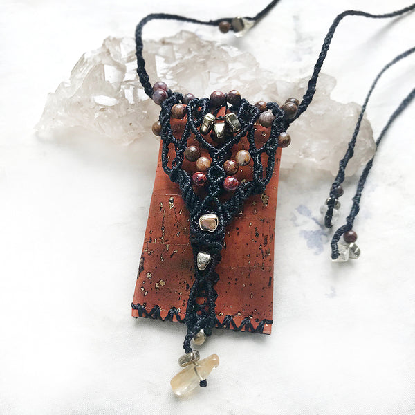 Decorative necklace pouch for crystals & tiny treasures