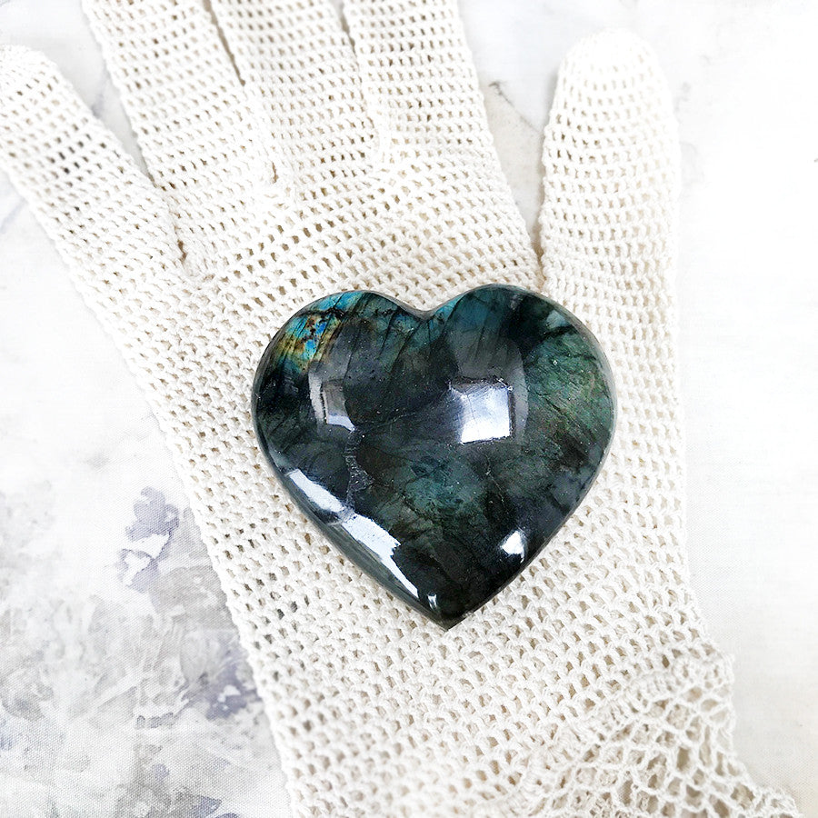Polished crystal heart ~ Labradorite
