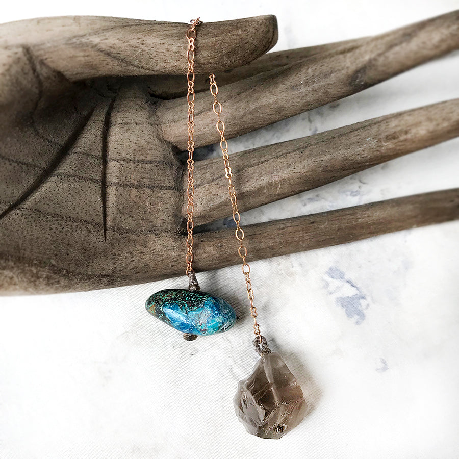 Crystal pendulum for dowsing ~ with Smokey Quartz & Chrysocolla