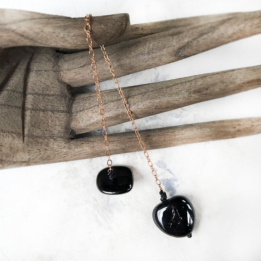 Crystal pendulum for dowsing ~ with Black Tourmaline & Jet