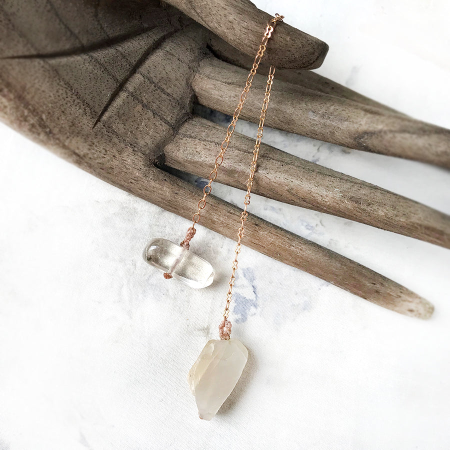 Crystal pendulum for dowsing ~ with Moonstone & Citrine