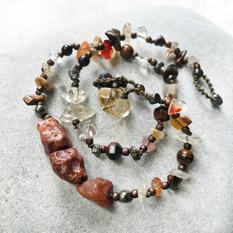 Crystal double wrap bracelet in earthy tones ~ for wrist size up to 6.5""