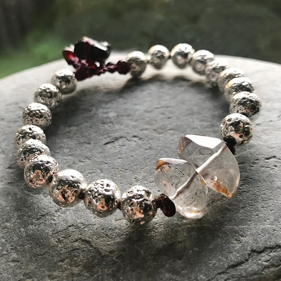 Mala bracelet with silver electroplated Lava Stone, Quartz & Almandine Garnet ~ for wrist size up to 7""