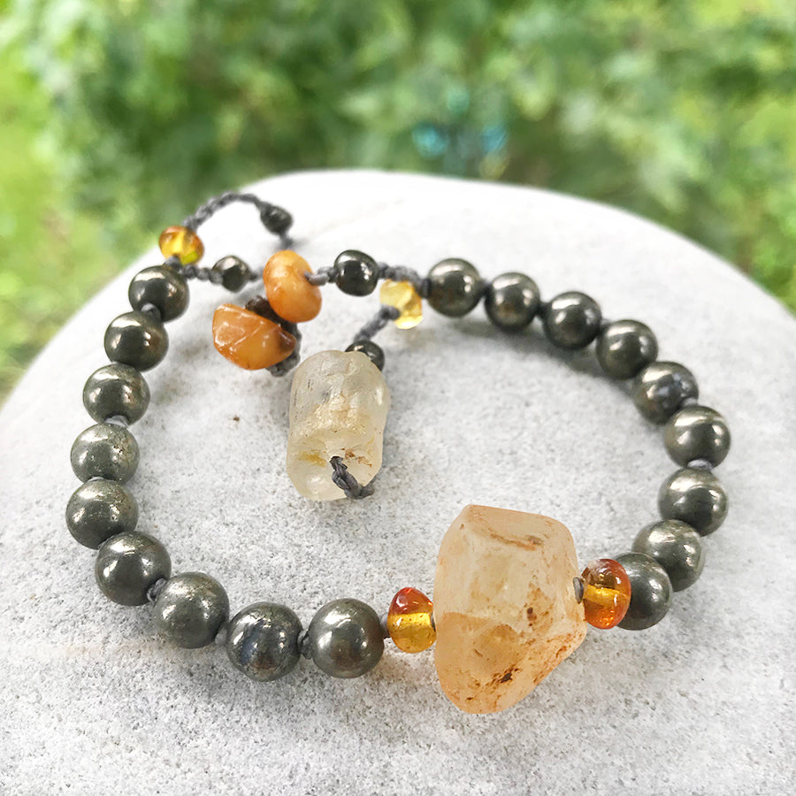 Mala bracelet with Pyrite, Topaz & Amber ~ for up to 6.25