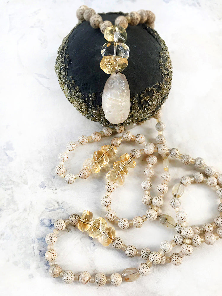 Lotus seed meditation mala with Citrine, Gold Rutile Quartz & Gobi Desert Agate