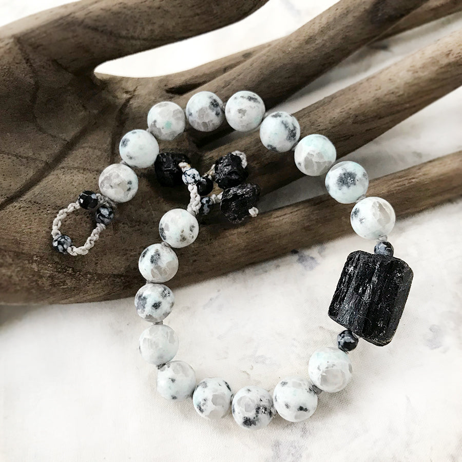 Mala bracelet with Granite & Black Tourmaline ~ for up to 7