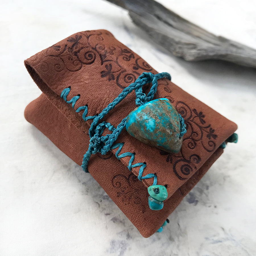 Tribal style leather mini roll for carrying small treasures ~ with Turquoise toggle