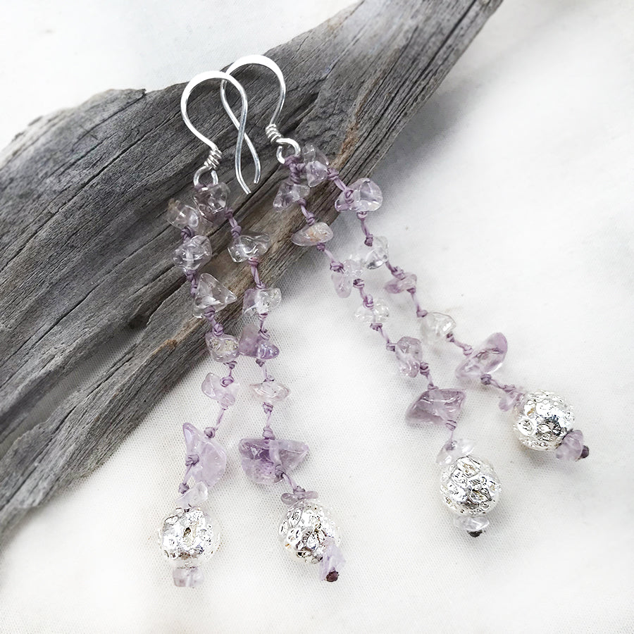 Crystal energy earrings with Ametrine & silver-plated Lava Stone