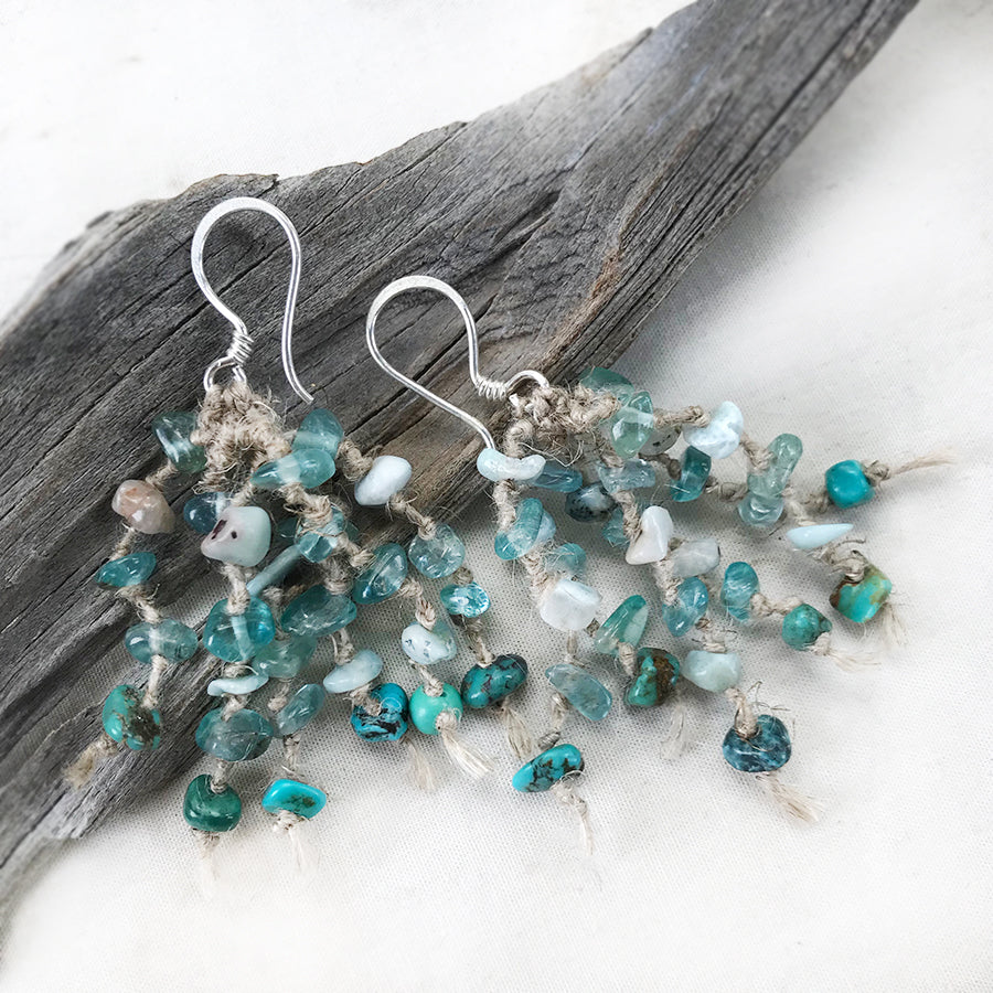 Crystal energy earrings with Fluorite, Larimar & Turquoise
