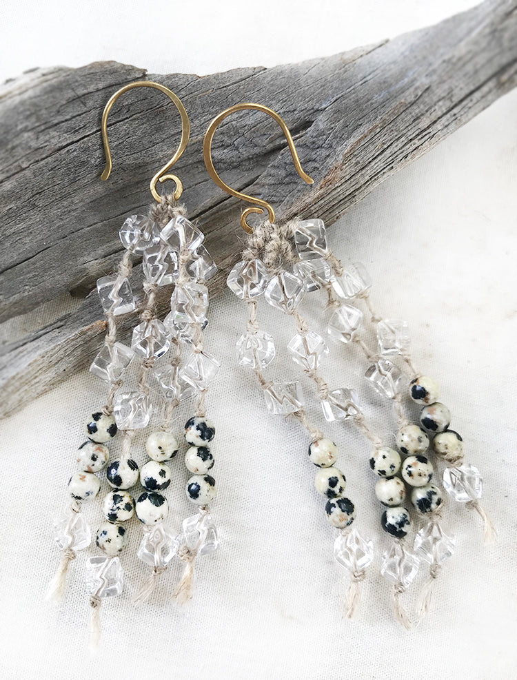 Crystal energy earrings with clear Quartz & Dalmatian Jasper