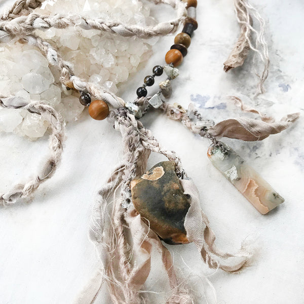 Flint Hagstone lariat necklace with Silver Leaf Jasper