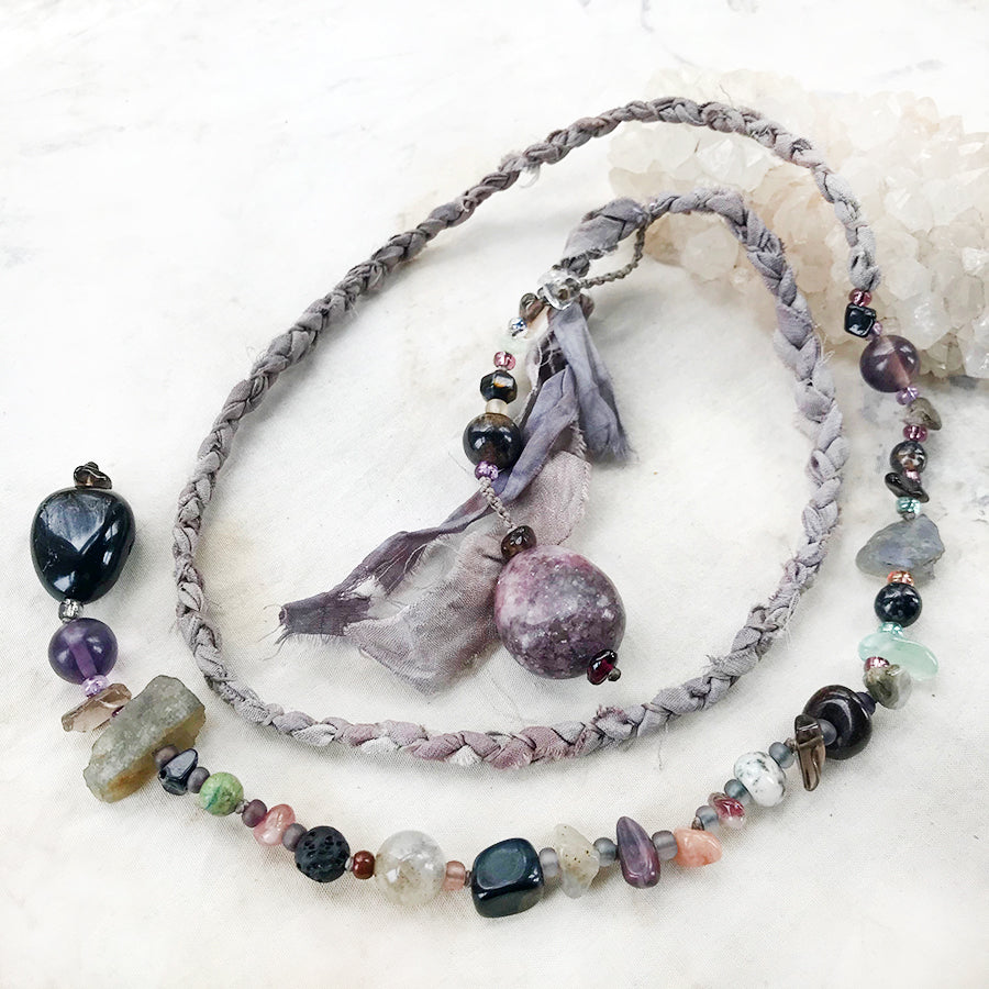 Crystal energy lariat necklace with Black Tourmaline & Lepidolite