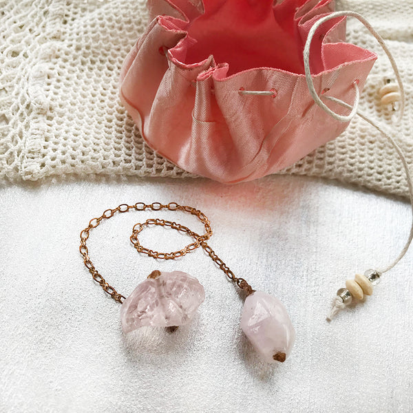 Crystal pendulum for dowsing ~ with Mangano Calcite & Ice Rose Quartz