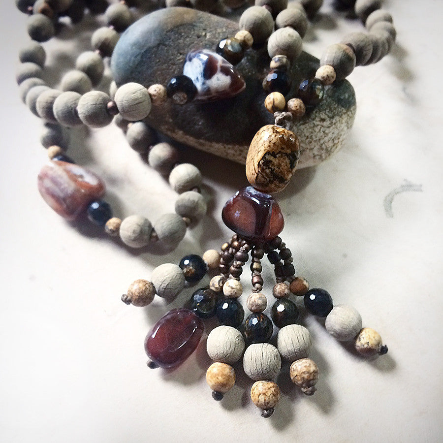 Mala with rough beech wood beads, Fire Agate, Picture Jasper & Golden Mica