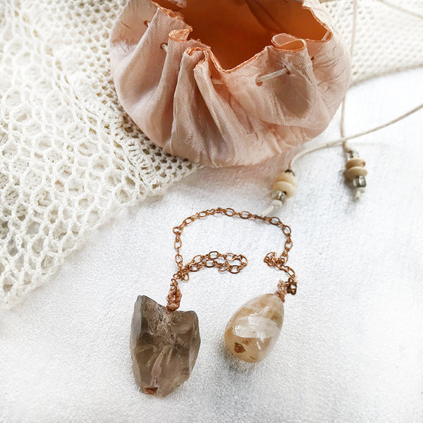 Crystal pendulum for dowsing ~ with Smokey Quartz & Citrine
