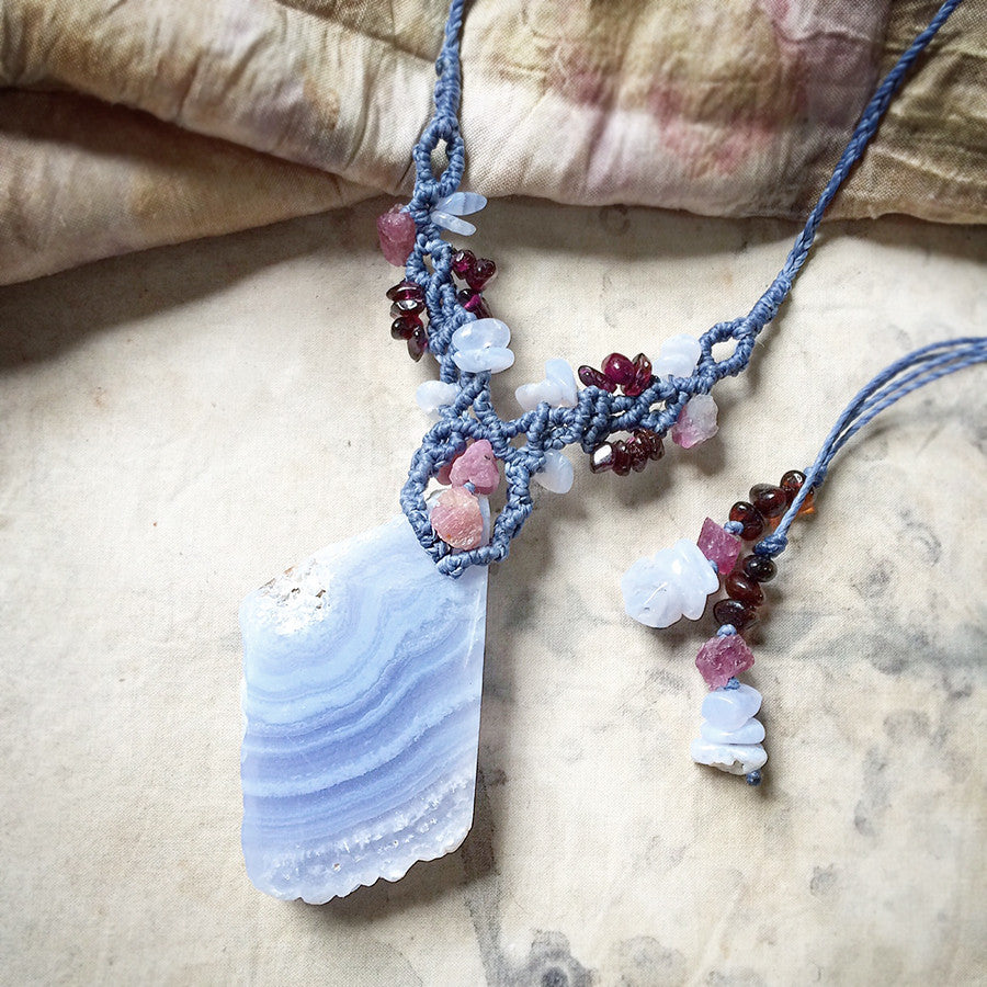 Crystal healing amulet with Blue Lace Agate