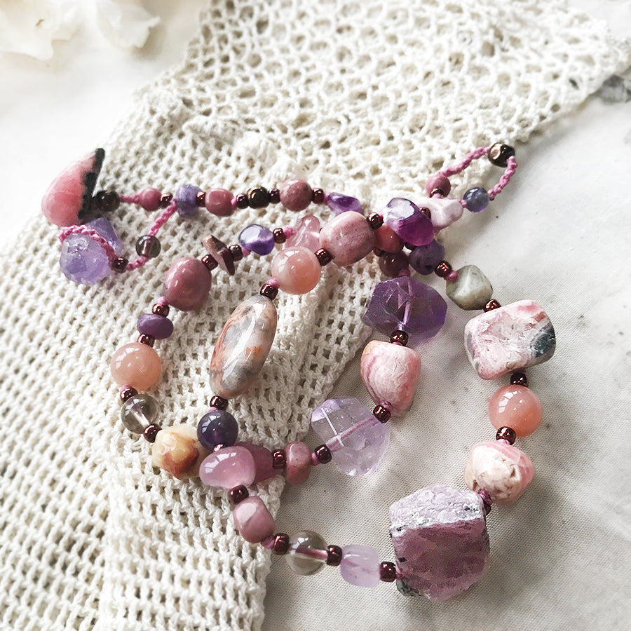 Crystal healing wrap bracelet in tones of pink & purple ~ for up to 6.5