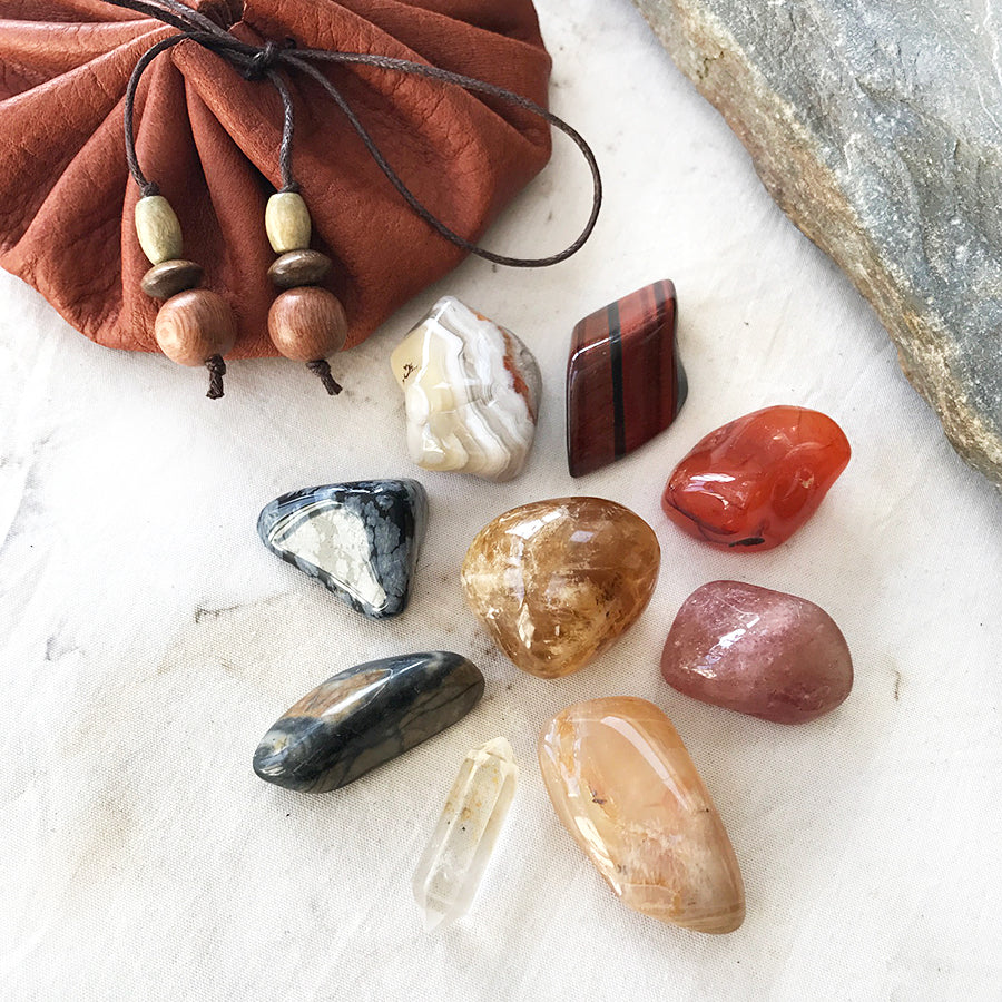 Crystal Travel Kit ~ brown leather pouch for crystals & talismanic items
