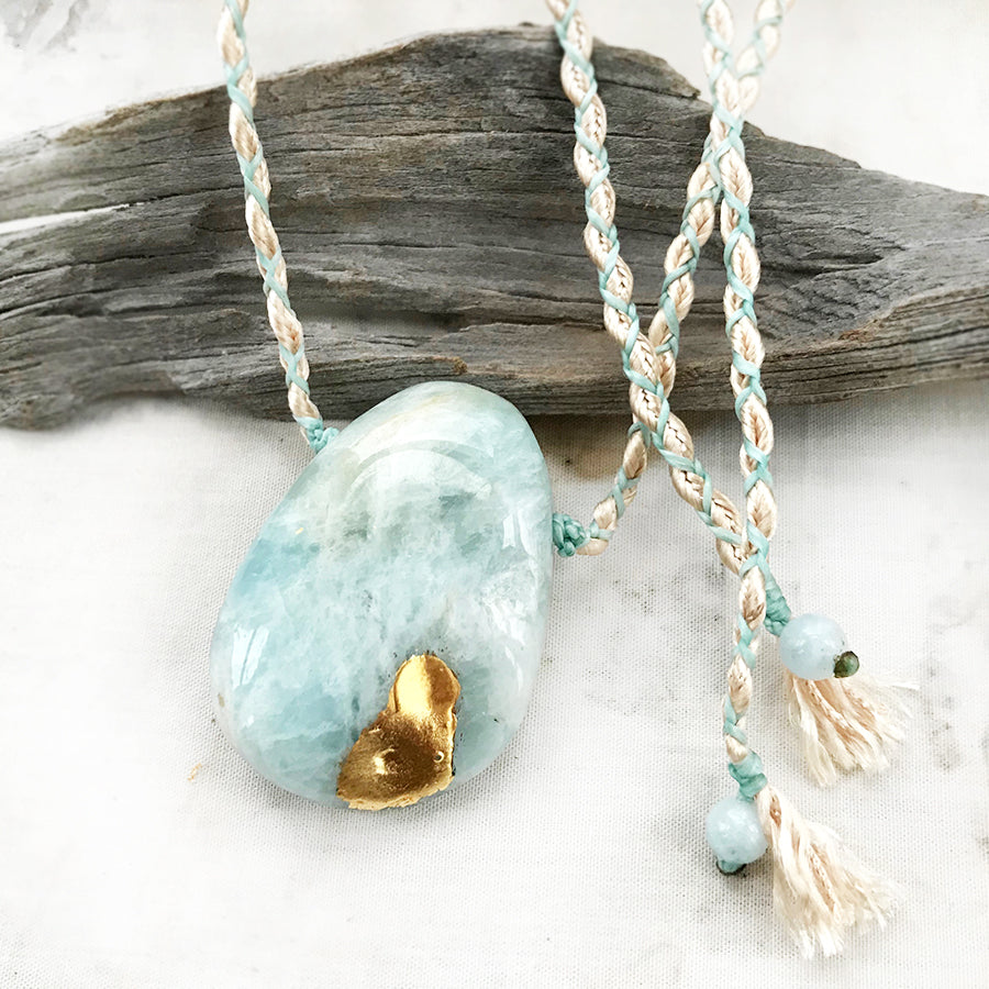 'Crystal kintsugi' crystal healing amulet with Aquamarine