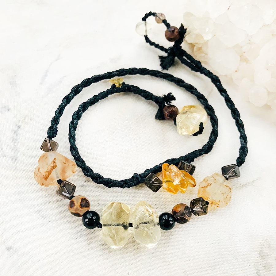 Crystal healing wrap bracelet with Citrine