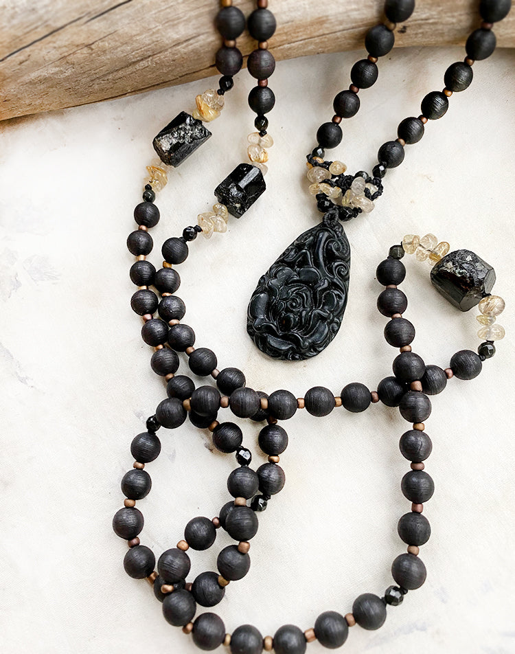 Agarwood meditation mala with Black Tourmaline, Gold Rutile Quartz & Nephrite Jade