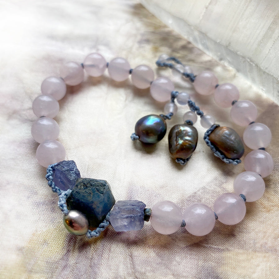 Rose Quartz mala bracelet ~ for wrist size up to 8