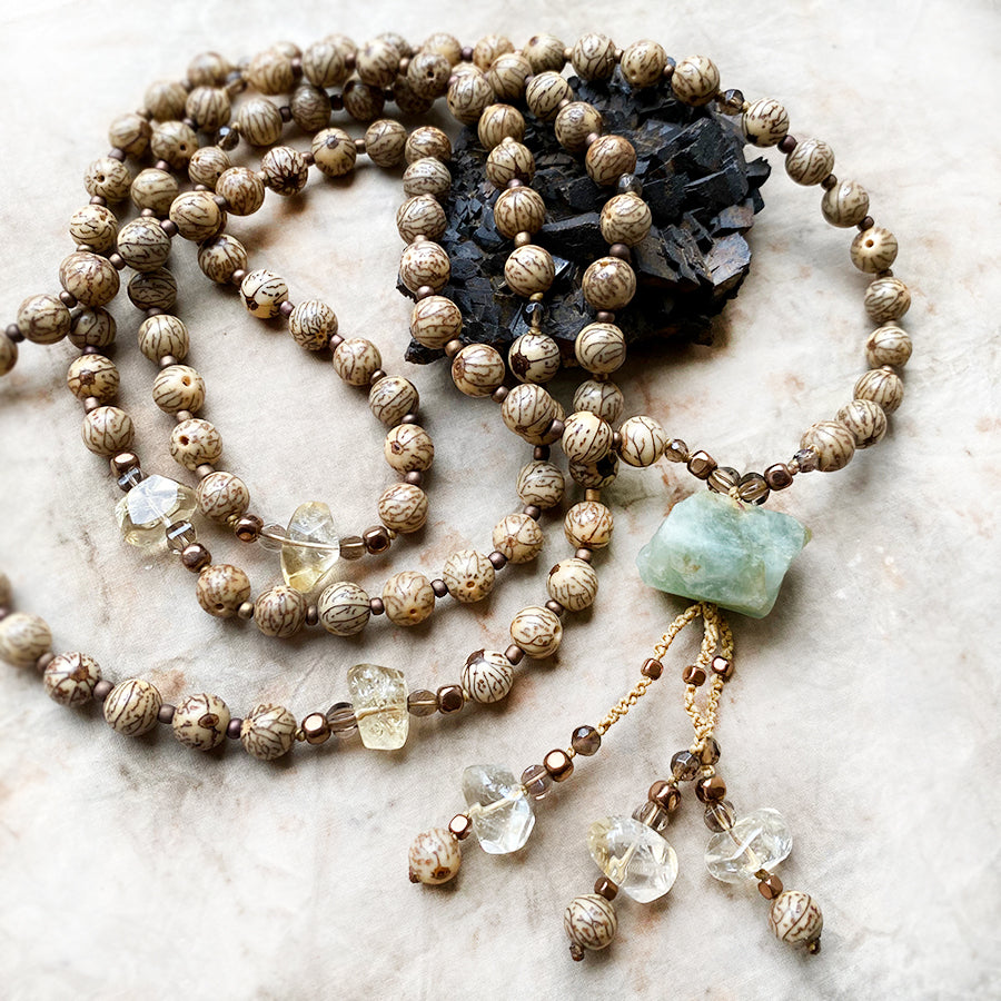 Bodhi seed meditation mala with Citrine & Aquamarine