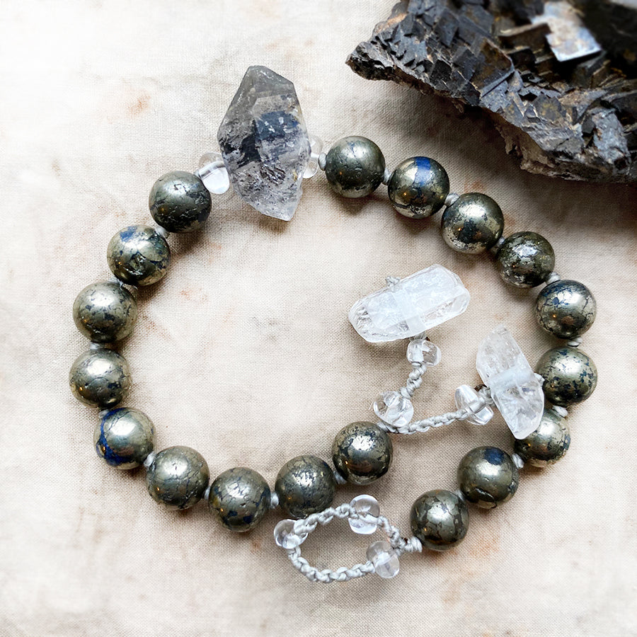 Pyrite mala bracelet ~ for wrist size up to 7