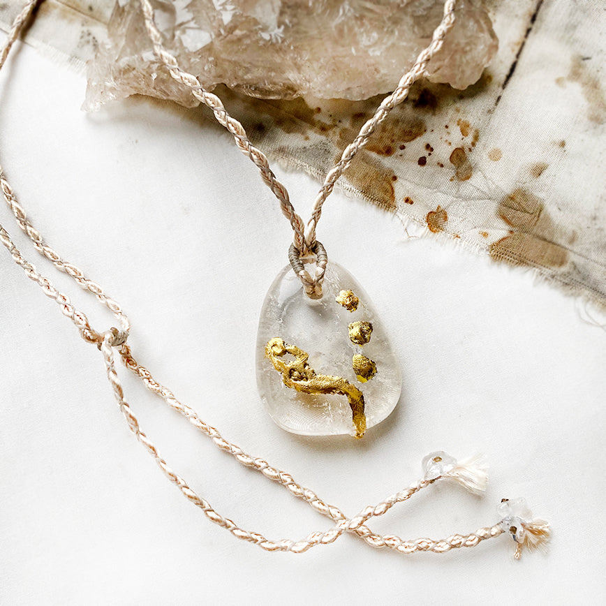 'Crystal Kintsugi' wounded healer Quartz crystal necklace