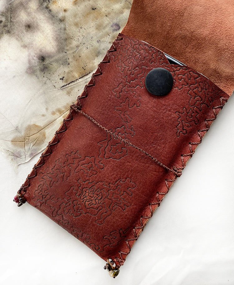 Tribal style leather sleeve for iPhone 11 Pro