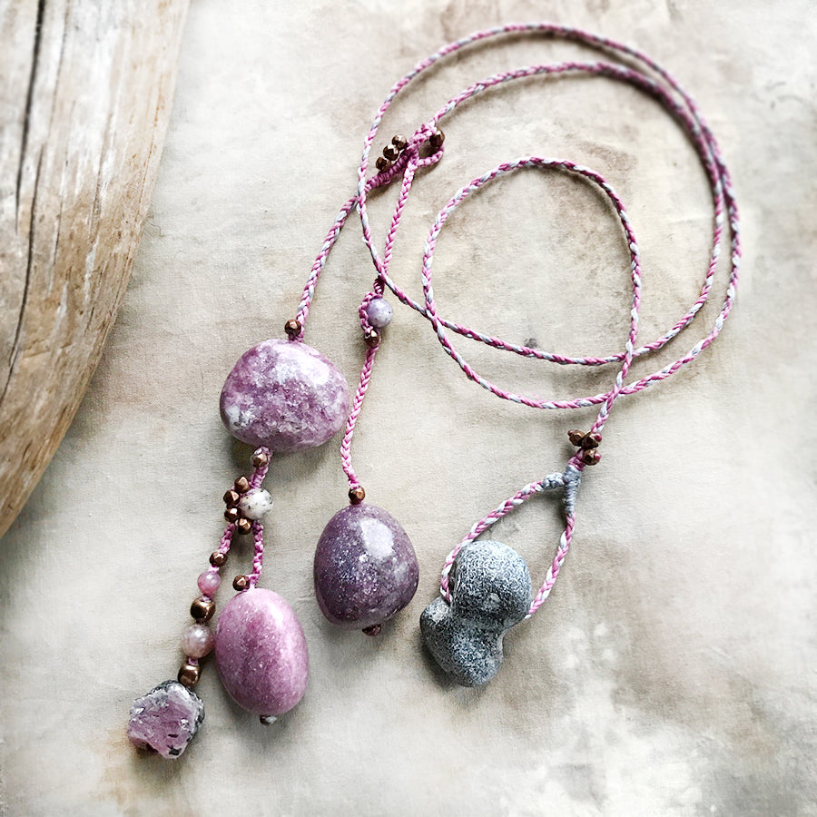 Lariat necklace with Lepidolite, Ruby, Flint Hagstone & Hematite