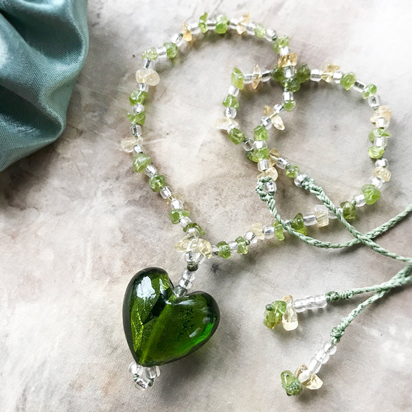 'Heartfelt' ~ green glass heart necklace with Peridot & Citrine