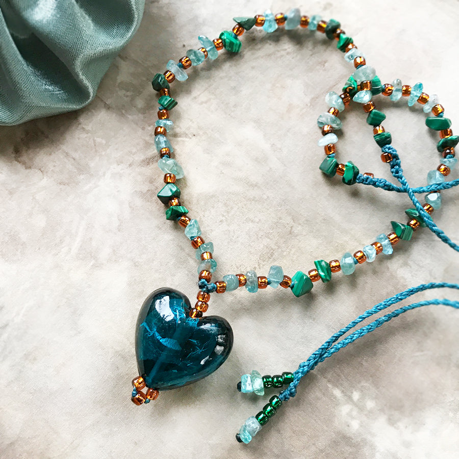 'Heartfelt' ~ petrol blue glass heart necklace with Fluorite & Malachite