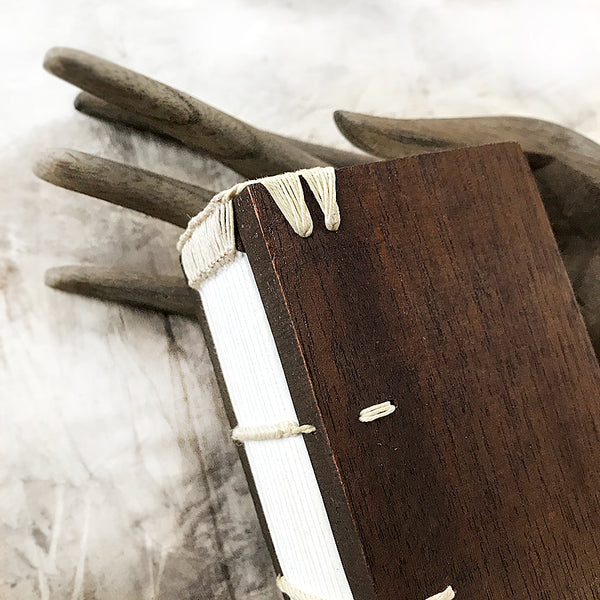 Unique hand-bound journal in mahogany covers