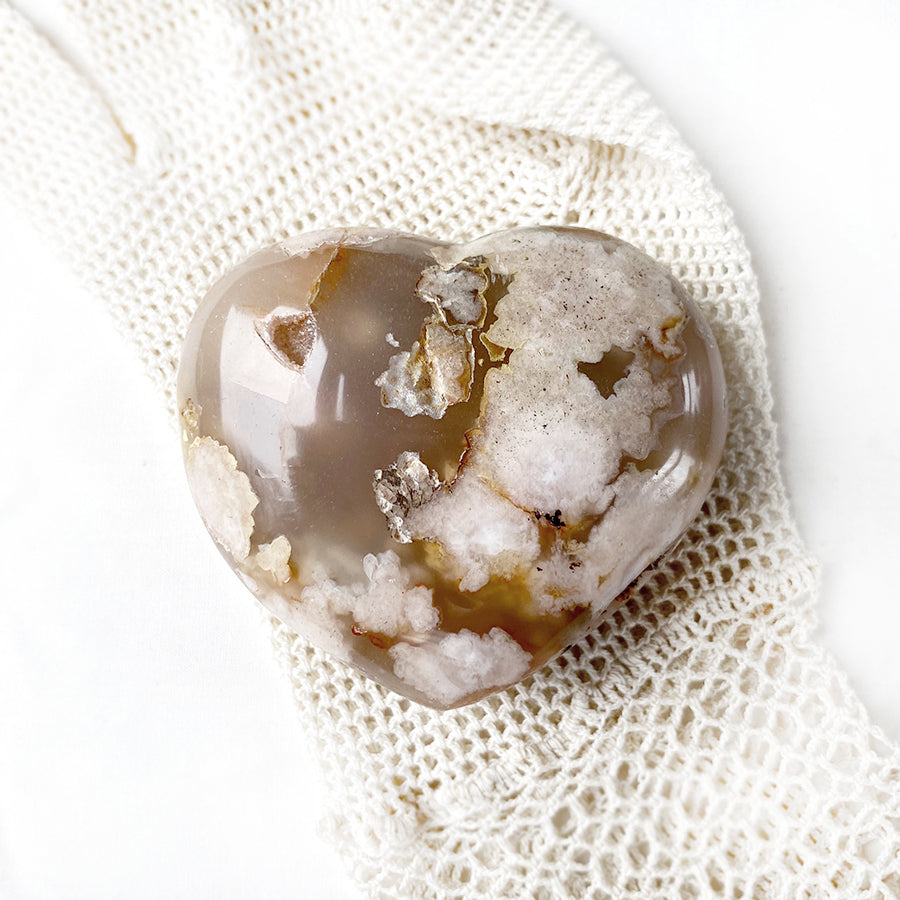 Flower Agate polished heart