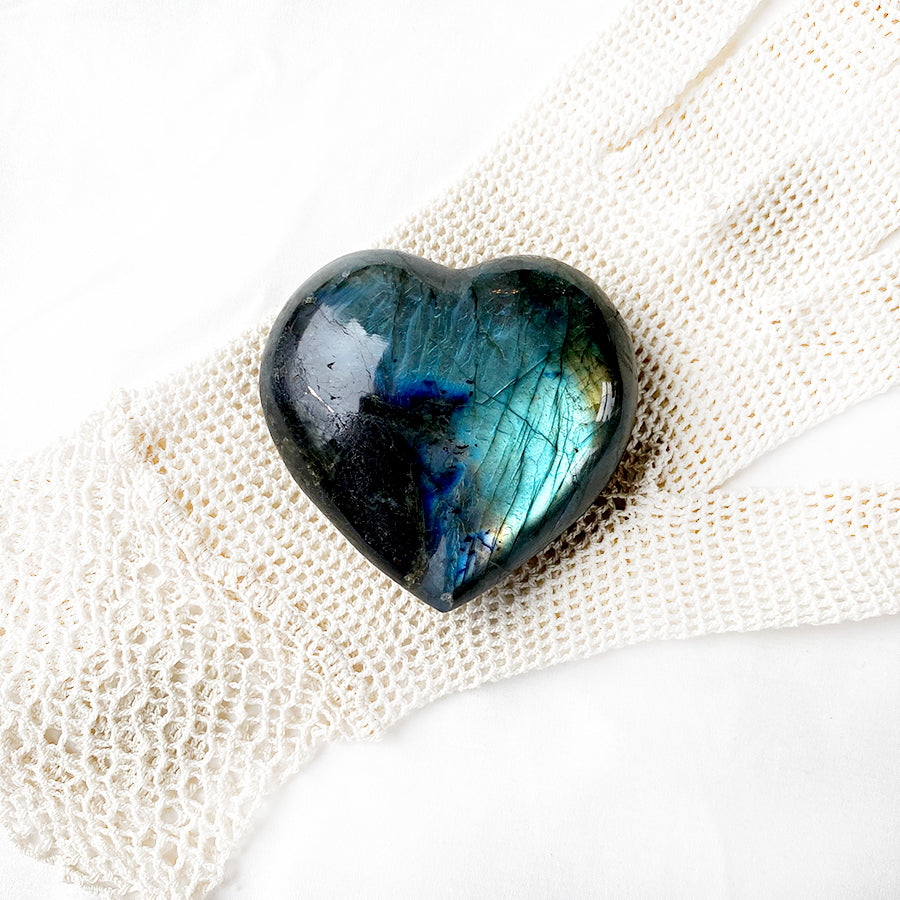 Labradorite polished heart