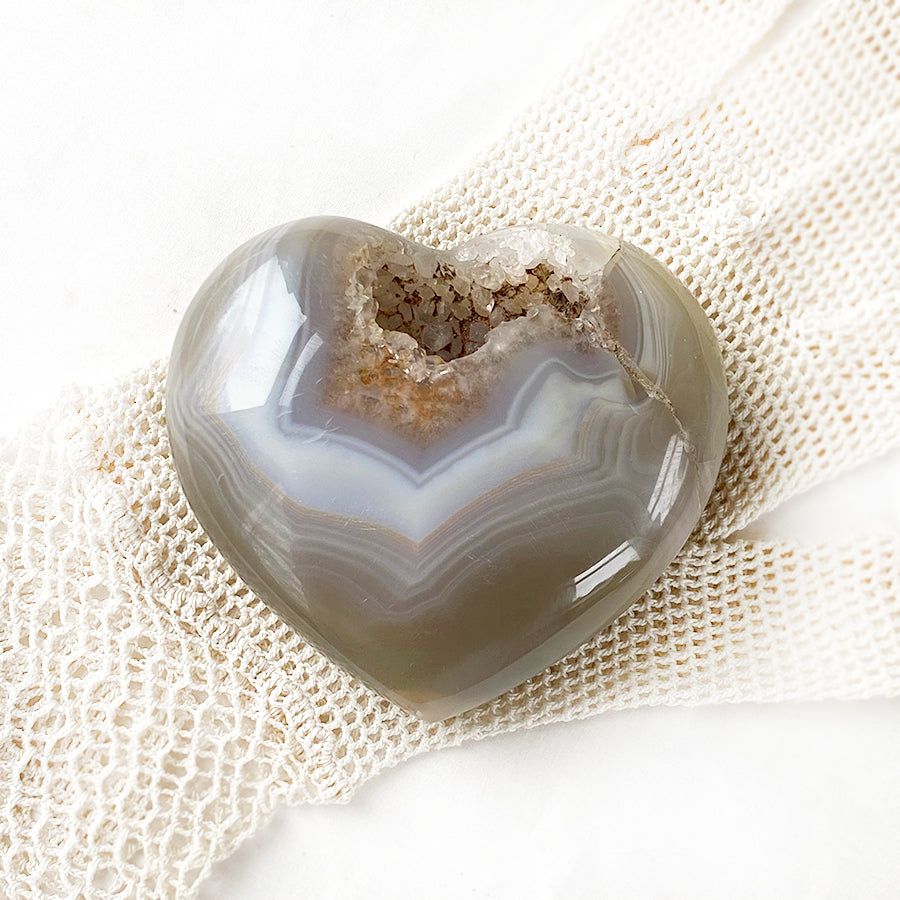 Agate geode polished heart