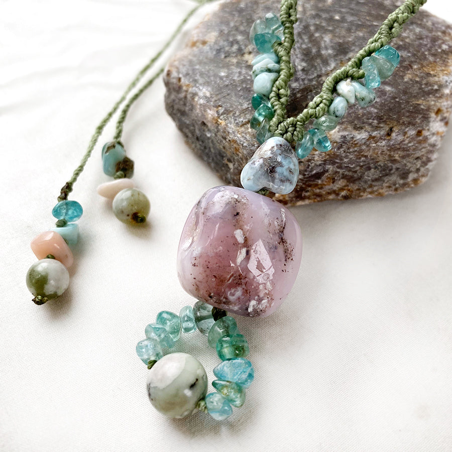 Crystal healing amulet with Peruvian Opal, Apatite, Peace Jade & Larimar