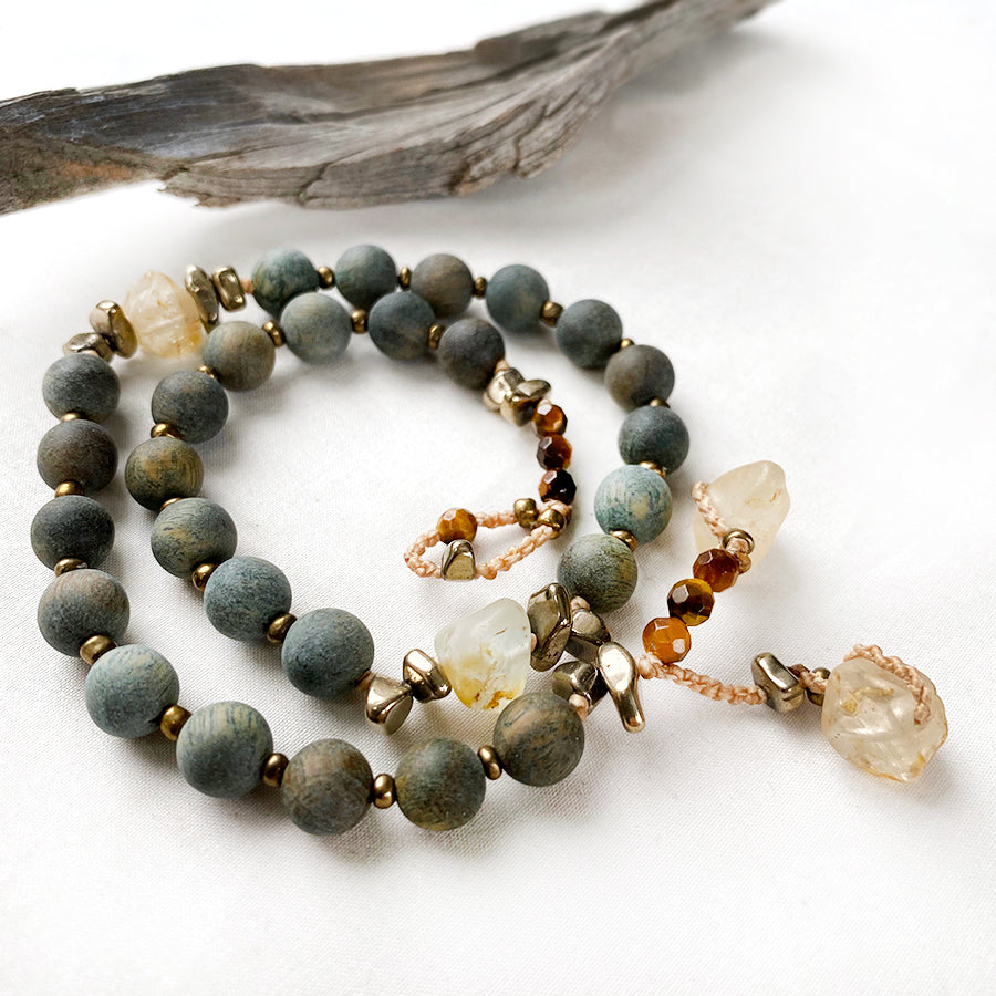 Green Sandalwood mala bracelet with Topaz, Hematite & Tiger Eye ~ for wrist size up to 6.5