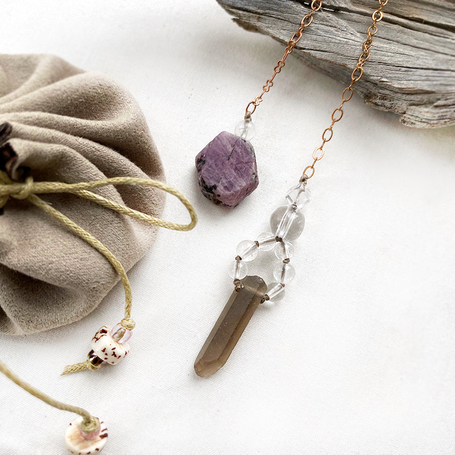 Crystal pendulum for dowsing ~ Smokey & clear Quartz with Ruby handle