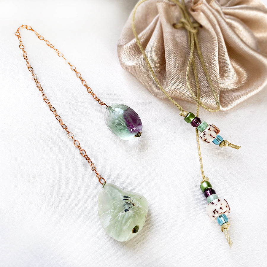 Crystal pendulum for dowsing ~ Prehnite with Fluorite handle