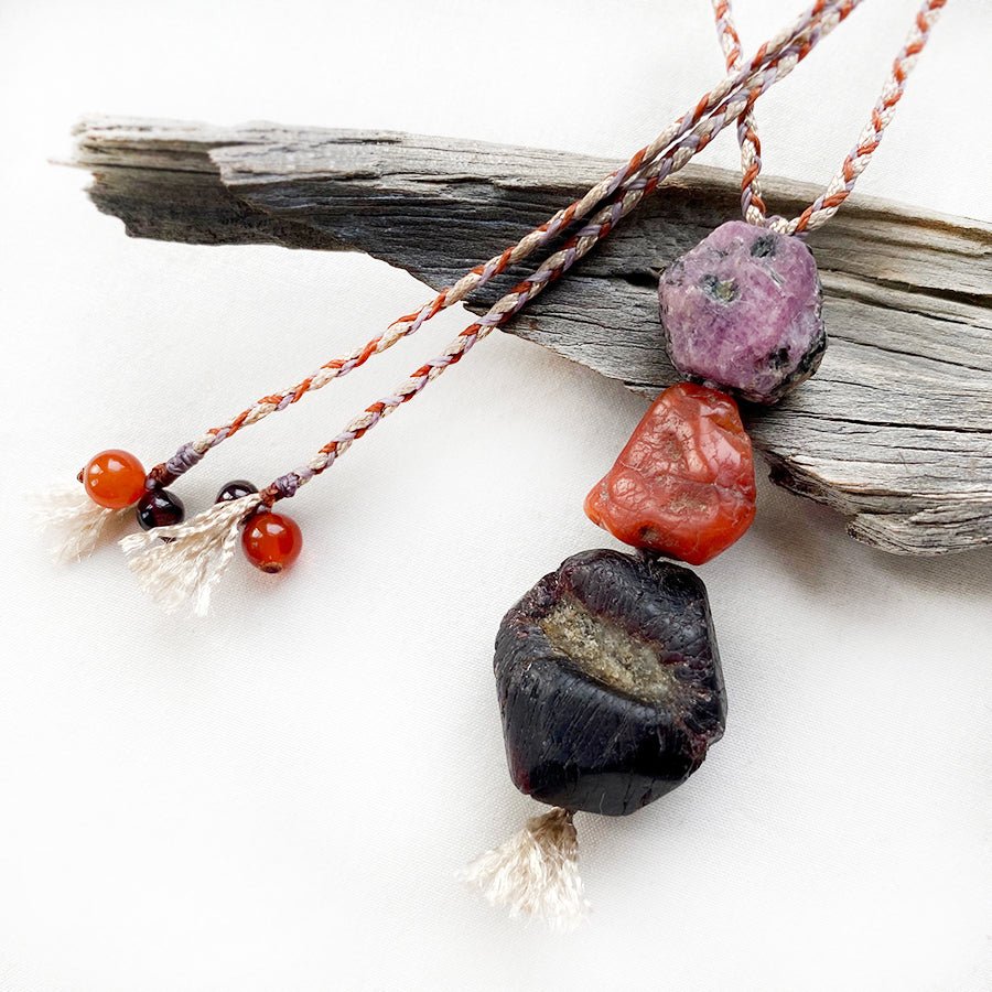 Crystal healing cairn amulet with Almandine Garnet, Carnelian and Ruby