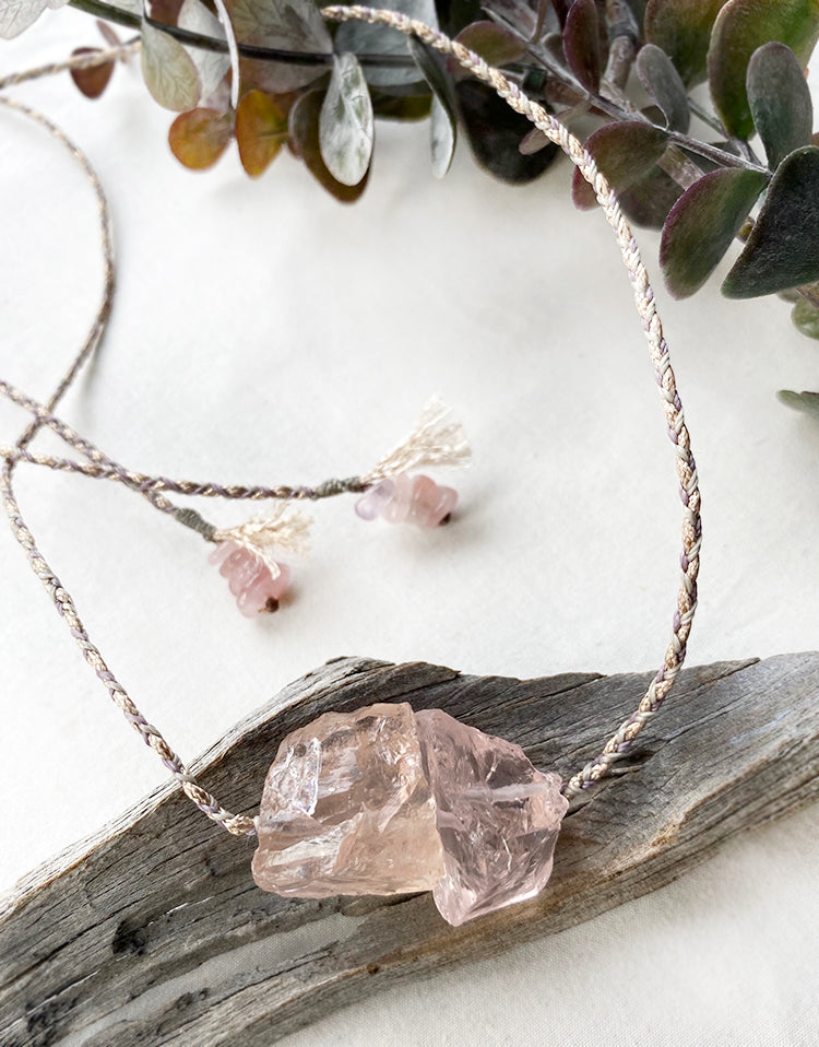 Rose Quartz crystal healing amulet