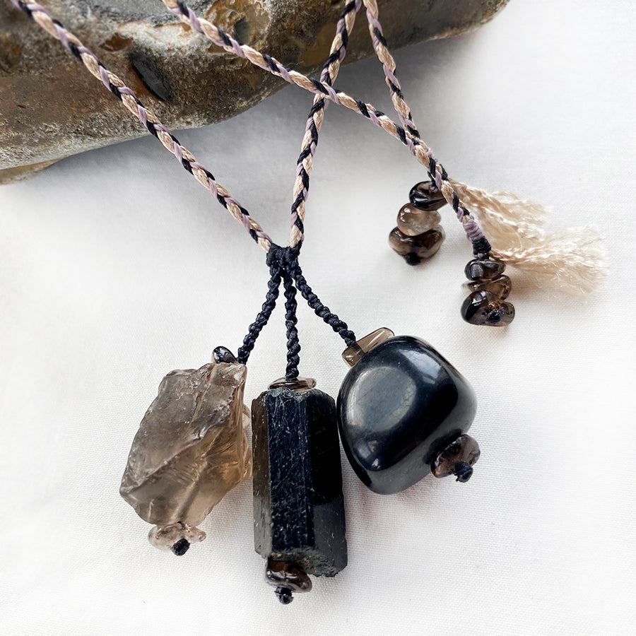 Crystal healing amulet with Smokey Quartz, Black Tourmaline & Jet