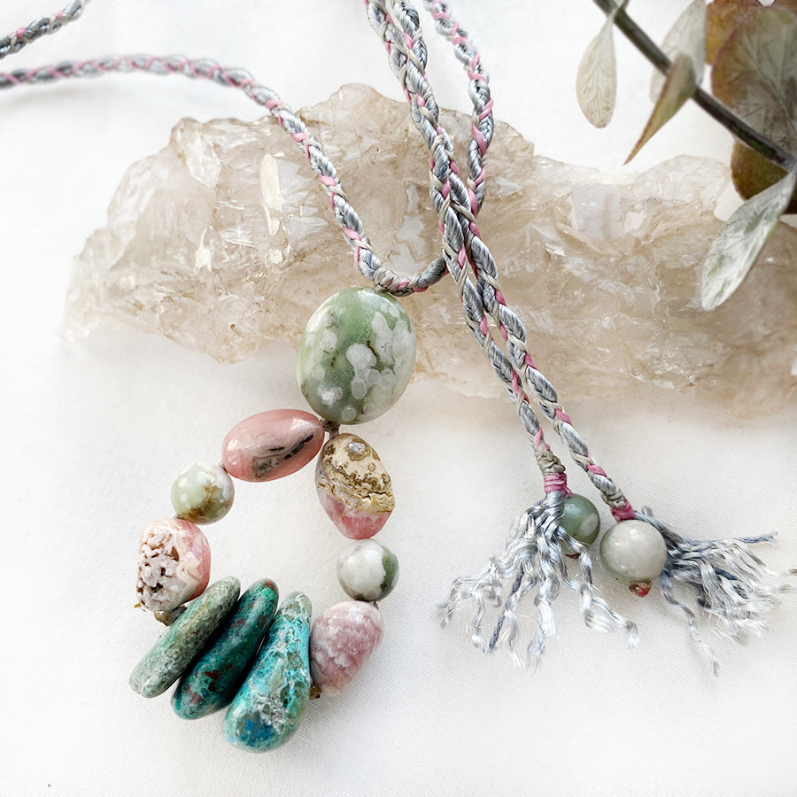 Crystal healing amulet with Peace Jade, Rhodochrosite & Chrysocolla
